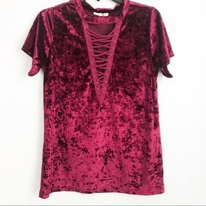 Entro Crushed Velvet Lace Up Top